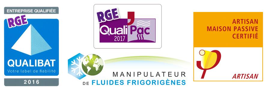 Certifications AOE Betton - QUALIPAC - QUALIGAZ- MAISON PASSIVE - MANIPULATEUR FLUIDES FRIGORIGENES